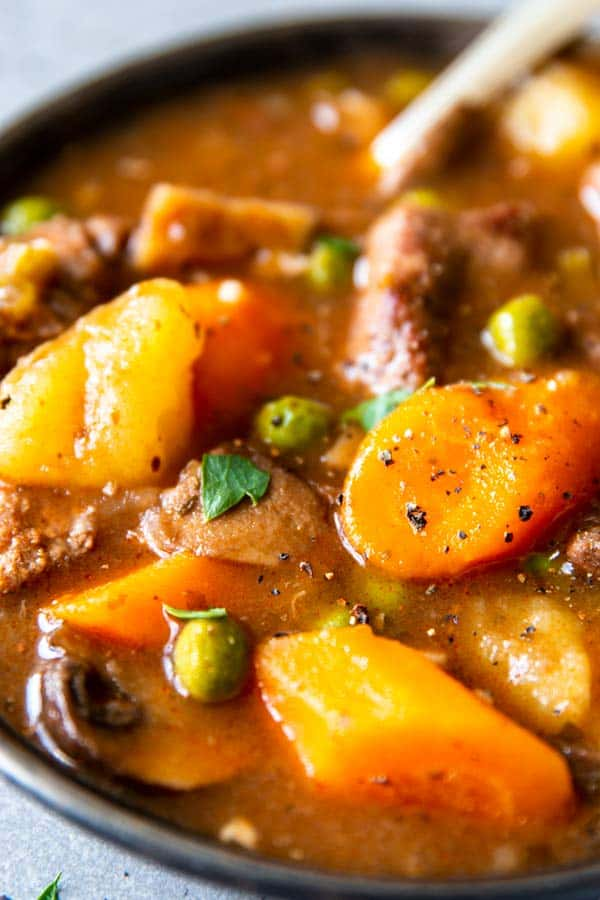 close up photo of instant pot beef stew