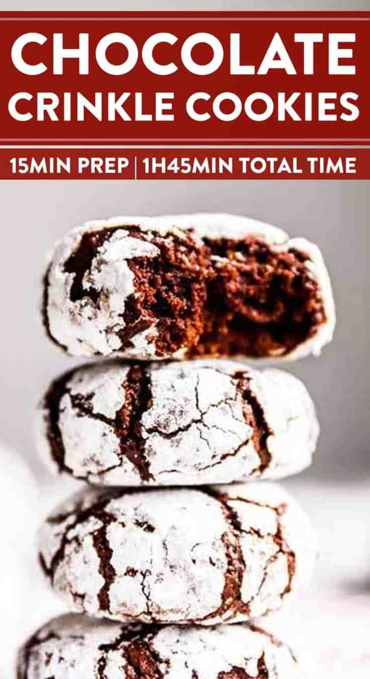 These Chewy Chocolate Crinkle Cookiesare soft and turn out picture-perfect! An EASYdough make these the best Christmas cookies for your holiday baking! | #cookies #chocolate #Christmascookies #Christmascookies #Christmascookieexchange #Christmascookierecipe #holidaybaking #holidayrecipes #baking #easyrecipes
