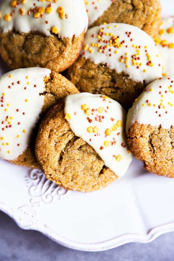 chewy gingersnap cookies on a plate