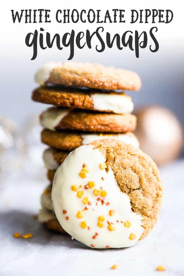 stack of white chocolate dipped gingersnap cookies with text overlay