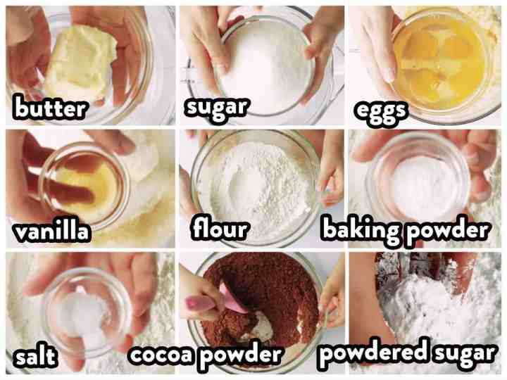 collage of ingredients to make chocolate crinkle cookies