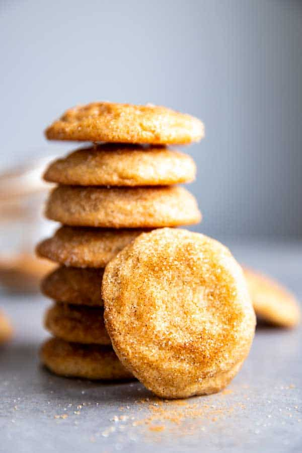 stacked snickerdoodles on the counter