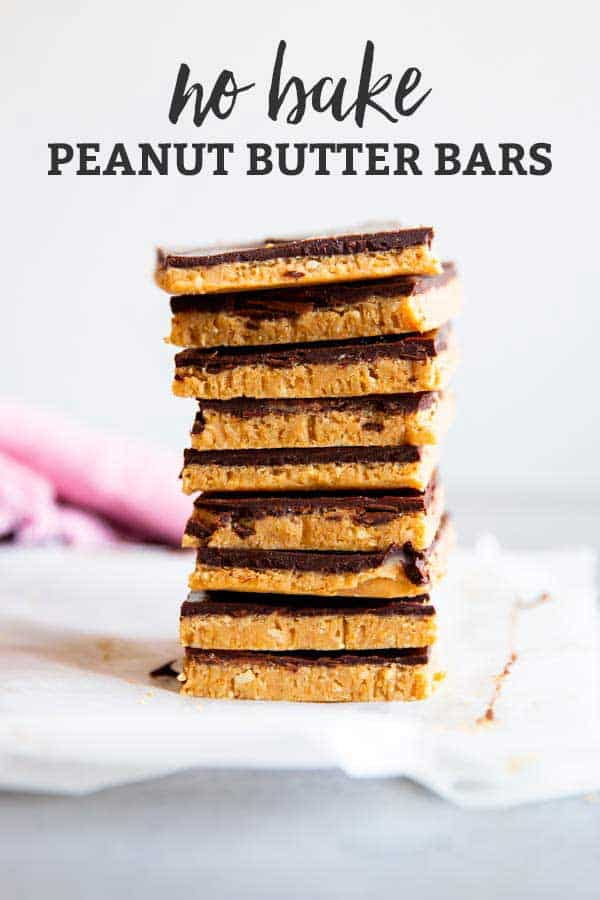 no bake chocolate peanut butter bars image with text overlay