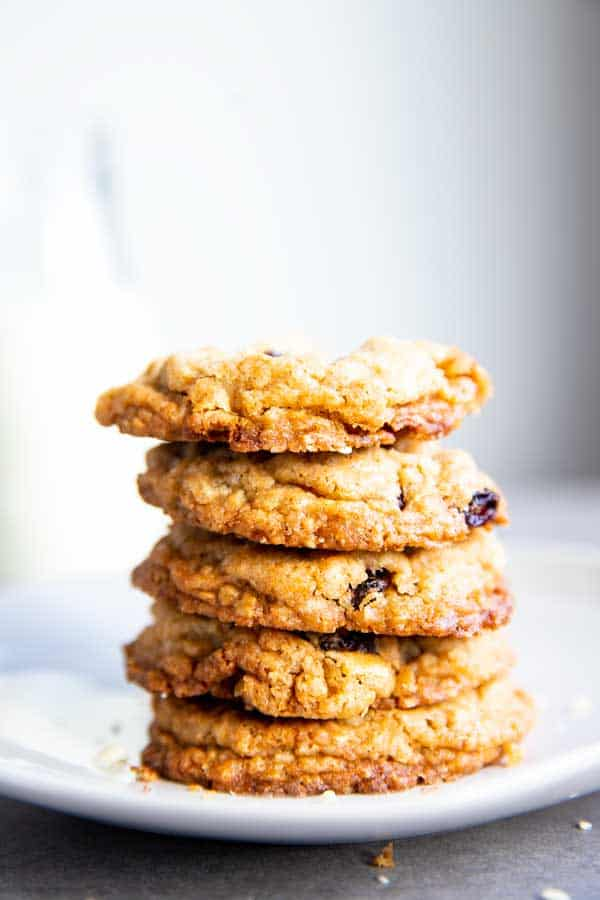stack of White Chocolate Cranberry Oatmeal Cookies