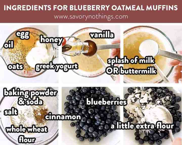 labelled image collage of ingredients for blueberry oatmeal muffins