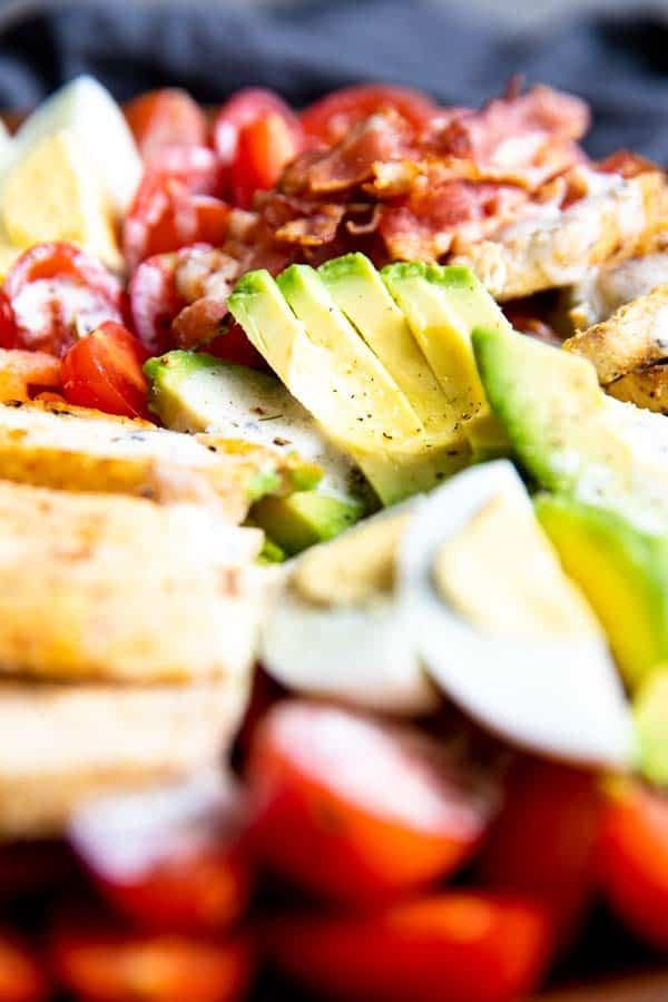 close up photo of meal prep Cobb salad