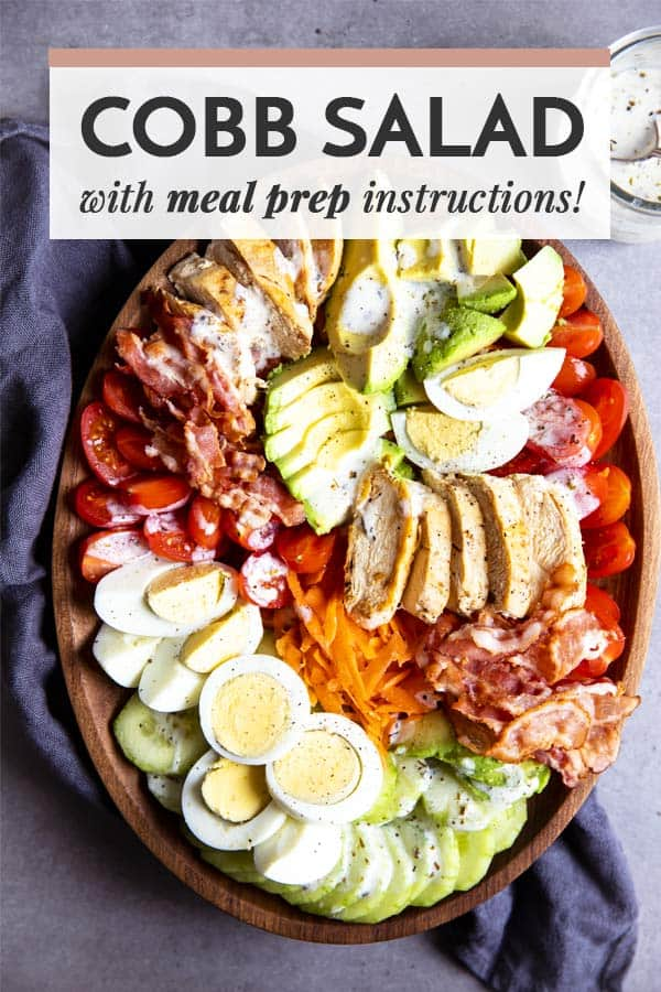 Cobb salad platter with text overlay
