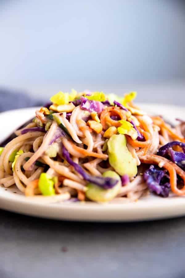 close up photo of Thai peanut noodles
