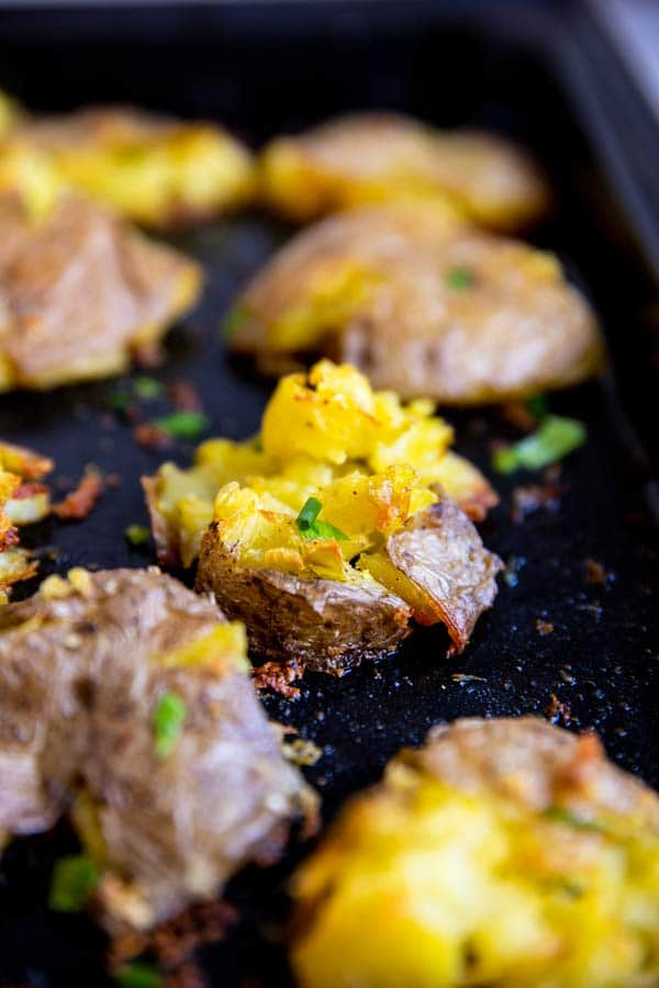 close up of a crispy garlic smashed potato