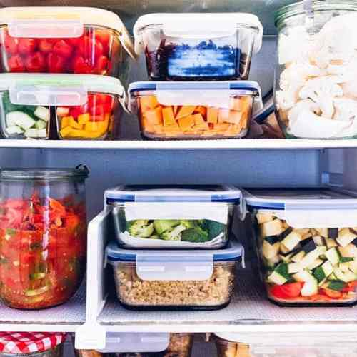 glass food storage containers in a fridge