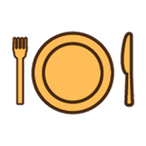 icon of a yellow plate with cutlery