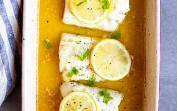 baking dish with garlic butter lemon baked cod