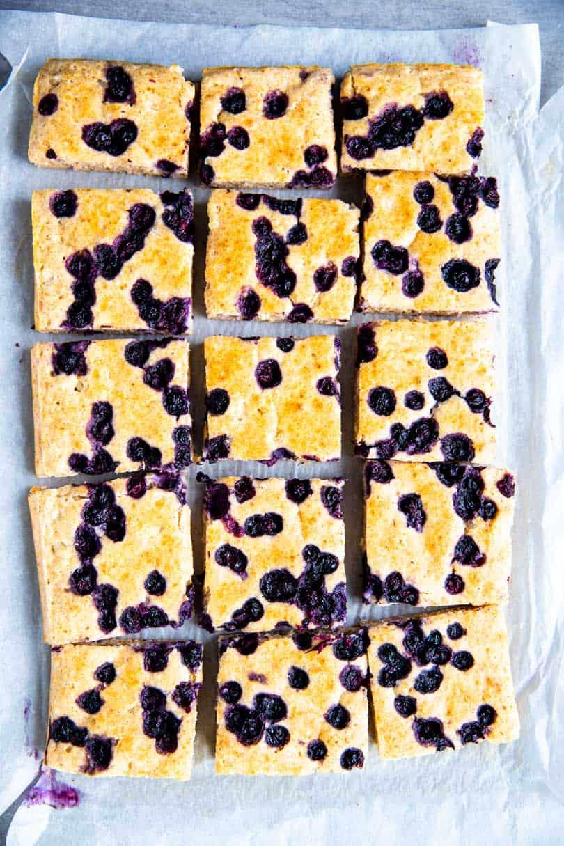 sheet pan blueberry pancakes cut into squares