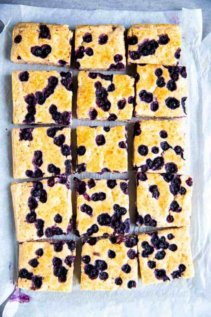 sheet pan blueberry pancakes cut into squares