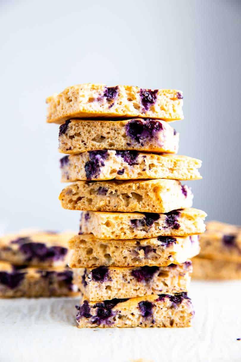 stack of sheet pan blueberry pancakes