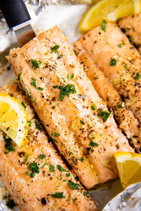 close up photo of salmon baked in foil