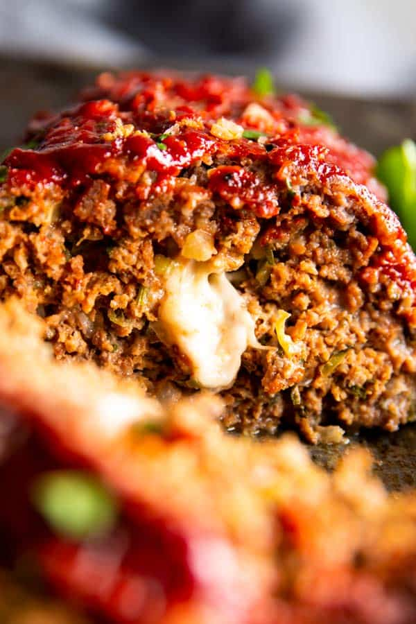 close up photo of mozzarella stuffed meatloaf