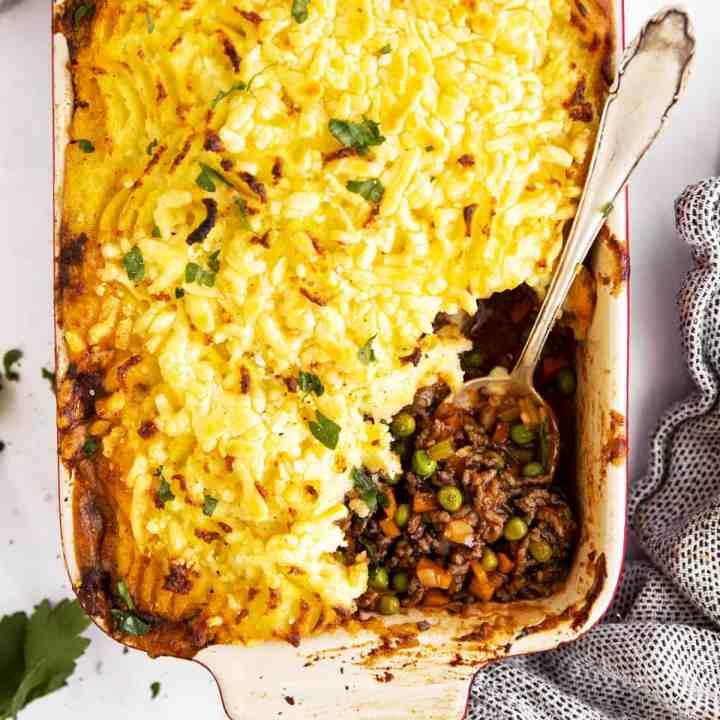 casserole dish with shepherd's pie