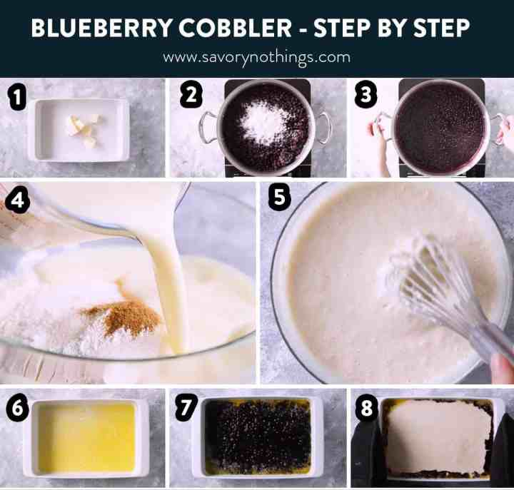 photo collage to show steps to bake blueberry cobbler