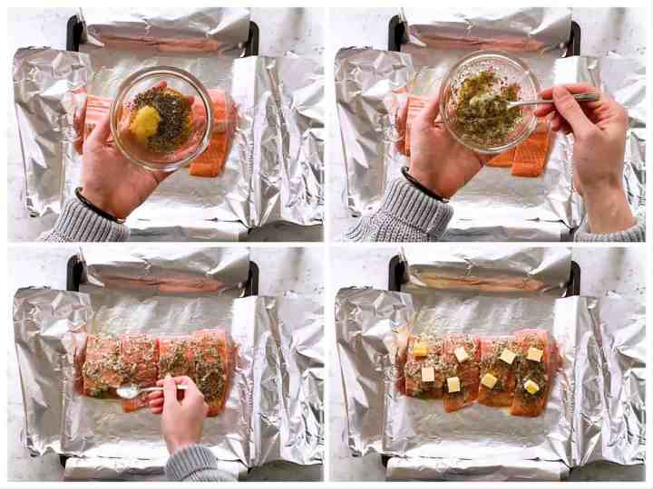 photo collage to show how to spread garlic butter over raw salmon fillet
