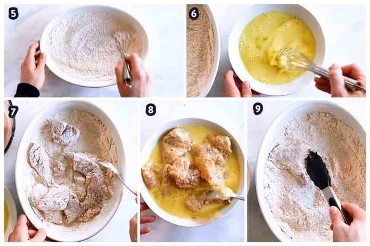 collage of photos to show breading of chicken