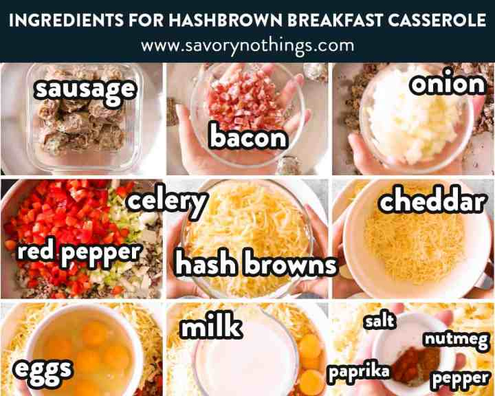 ingredients for hash brown breakfast casserole with text labels