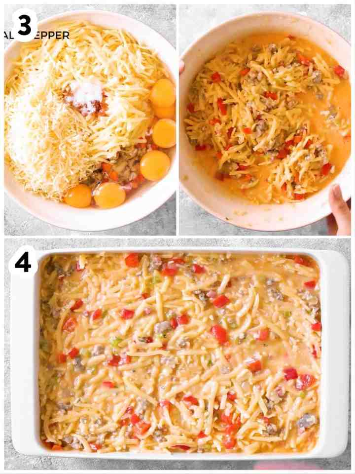 photo collage to show how to assemble a hash brown breakfast casserole