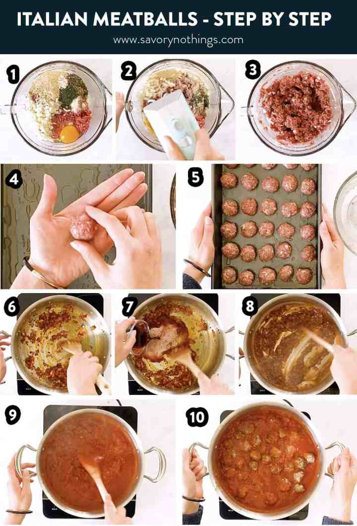 photo collage of steps to make Italian meatballs