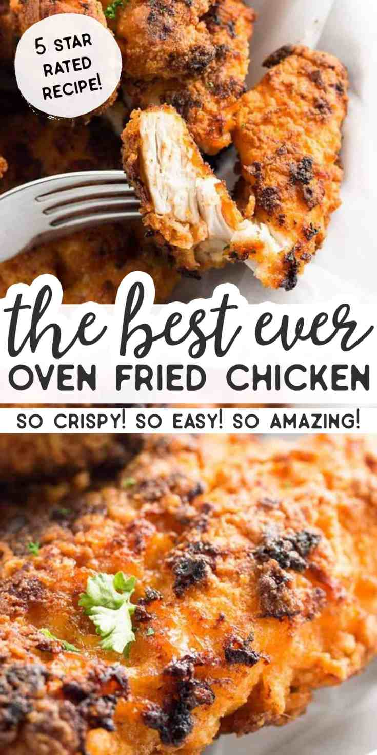 The best recipe for Crispy Oven Fried Chicken! Strips of boneless and skinless chicken breasts are breaded with breadcrumbs and baked to crunchy perfection on a tray with butter. Simple to make, this might not be healthy food but it's a lot healthier than getting KFC. Serve with your favorite sides as a comforting family dinner your kids will go crazy for. This man catching recipe is out of this world :)   #chicken #chickenrecipes #ovenfriedchicken #friedchicken #easyrecipes #easydinner