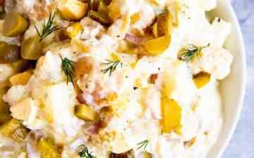 bowl with creamy dill potato salad