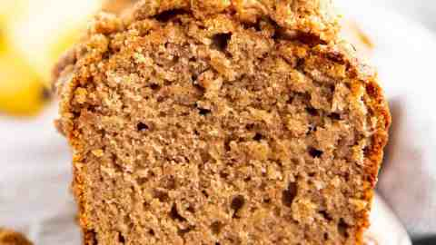 close up photo of a sliced banana bread