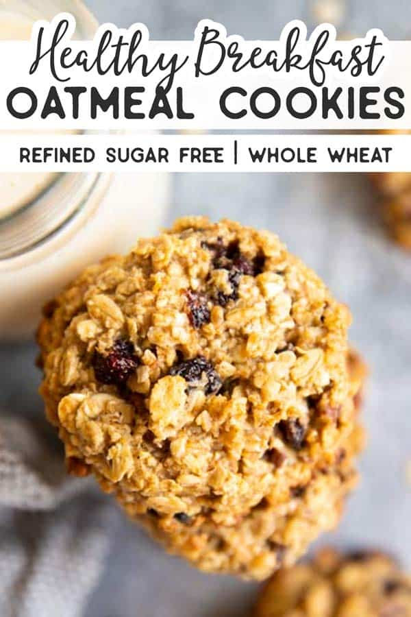 Healthy Breakfast Oatmeal Cookies Pin 1