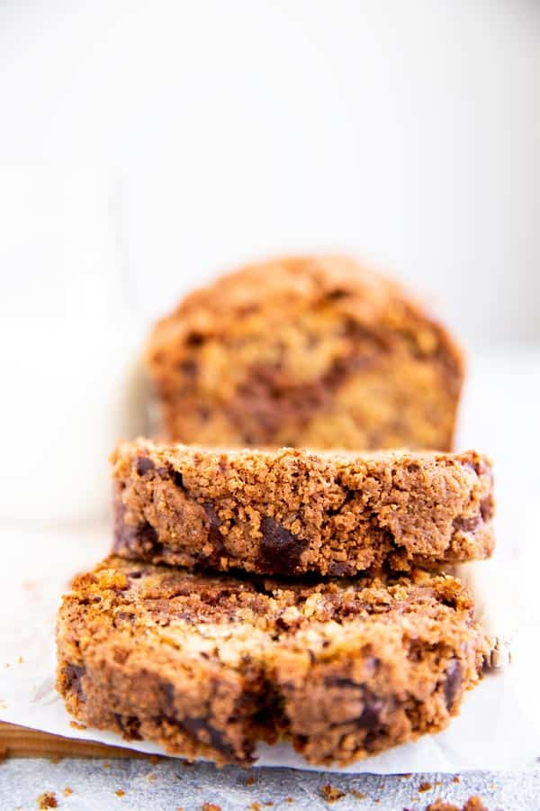 slices of banana bread with cinnamon streusel on top