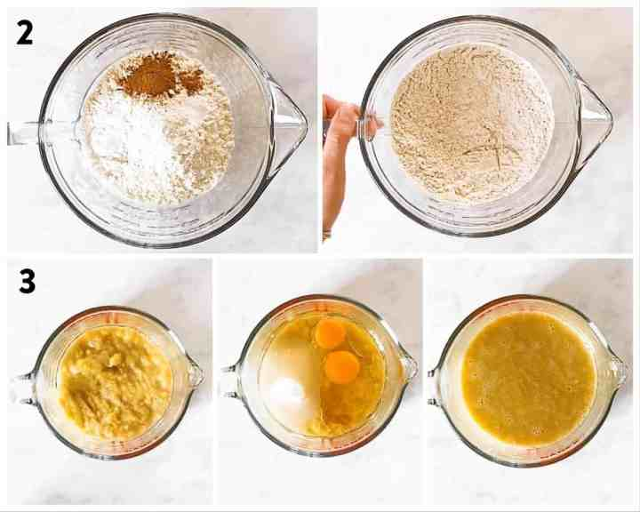 photo collage to show how to combine dry and wet ingredients for banana bread batter