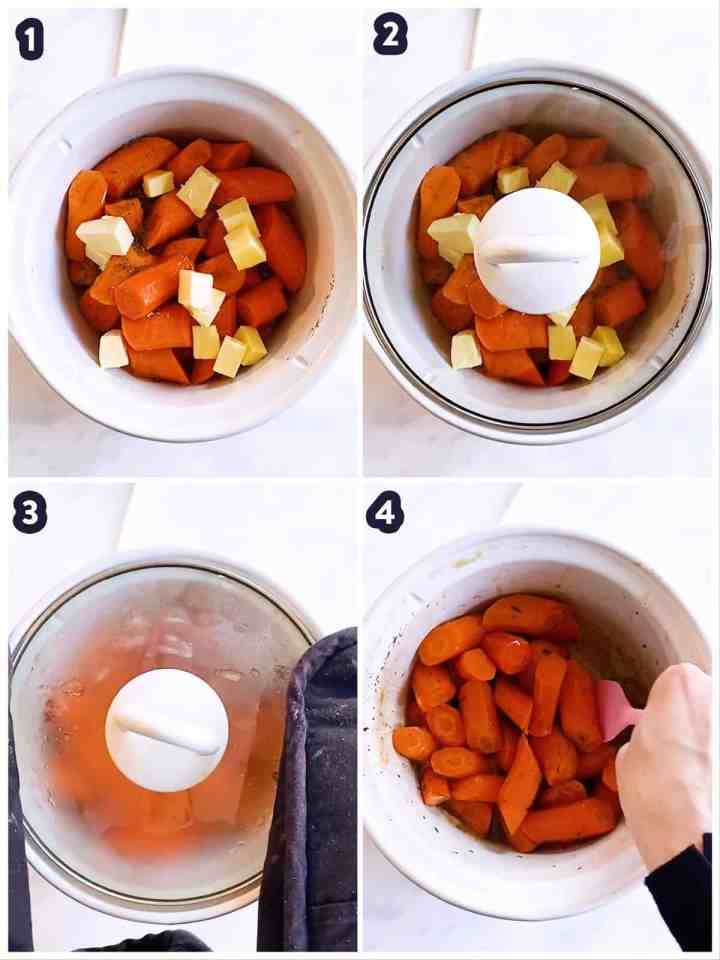 collage to show how to make crockpot glazed carrots
