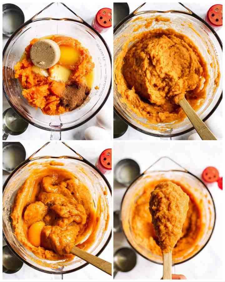 collage of photos showing how to make the filling for a sweet potato casserole