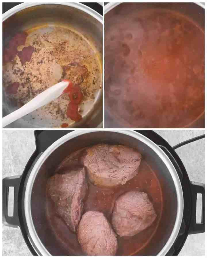 photo collage to show how to prepare gravy for instant pot pot roast