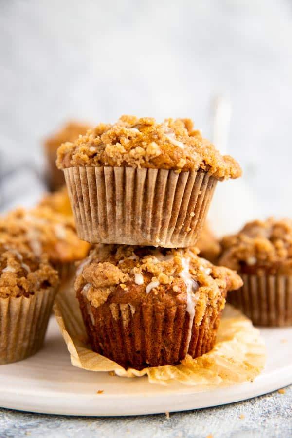 stack of pumpkin crumb muffins