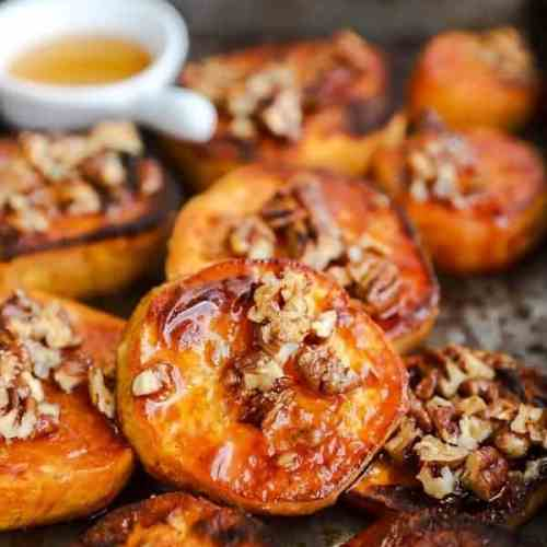 close up photo of roasted sweet potato slices