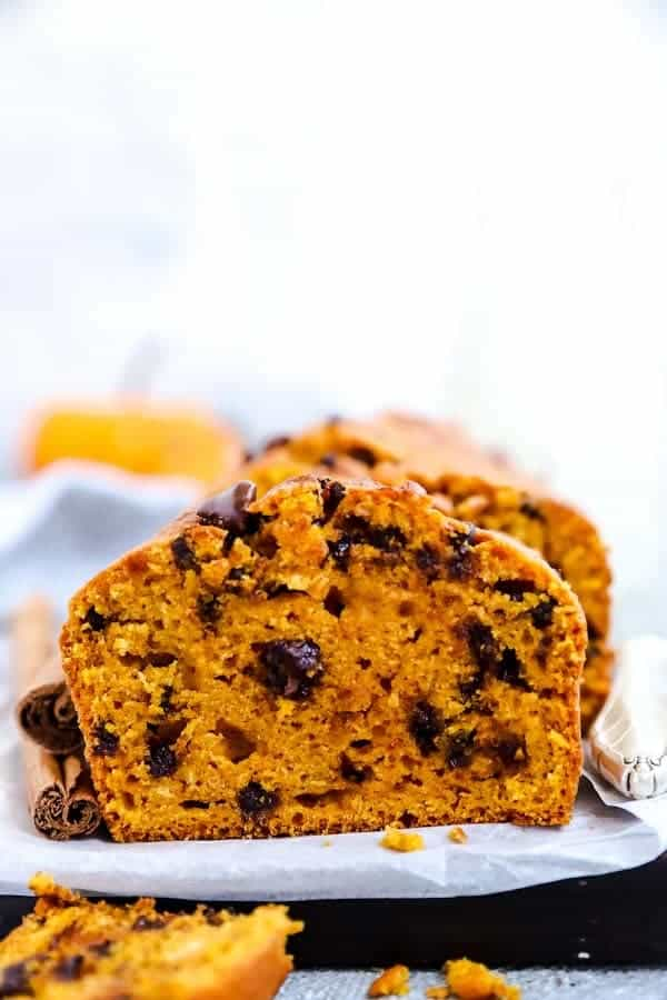 slice of chocolate chip pumpkin bread