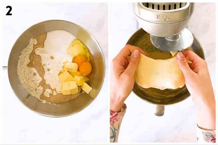 photo collage to show how to make cinnamon roll dough