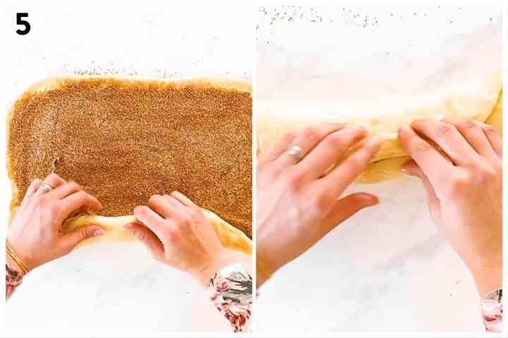 photo collage to show how to roll and seal a cinnamon roll log
