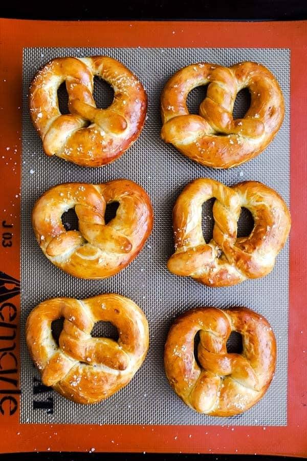 baking sheet with baked German soft pretzels