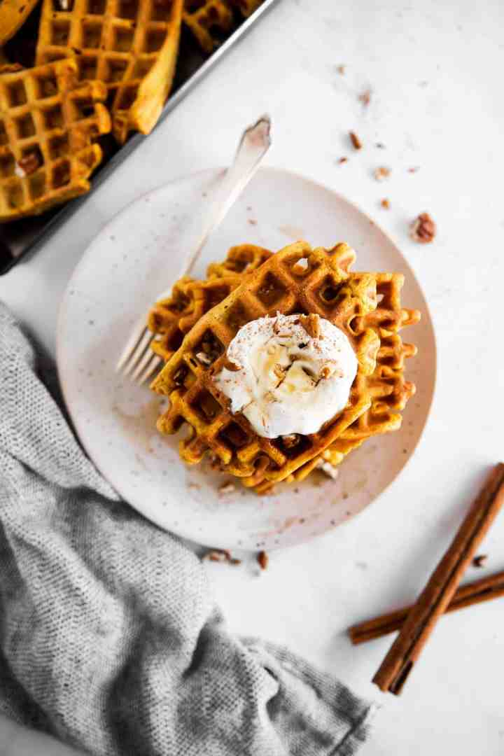 overhead view on plate with pumpkin waffles