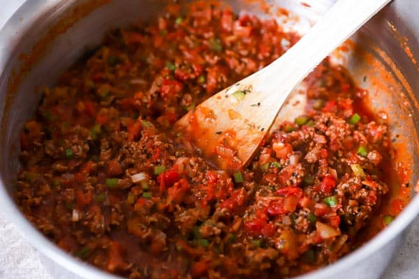 spaghetti sauce for baked spaghetti in a skillet