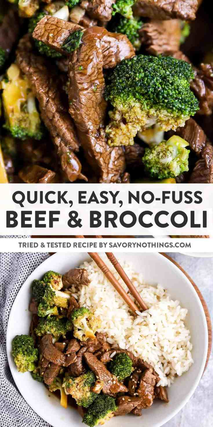 This Beef and Broccoli Stir Fry is so quick and easy to make - whip it up in 30 minutes with strips of tender beef, plenty of healthy broccoli and just a few simple ingredients to make the sauce.   #asianfood #takeout #beefrecipe #easydinner #dinnerrecipe #stirfry #asianrecipe #easyrecipe