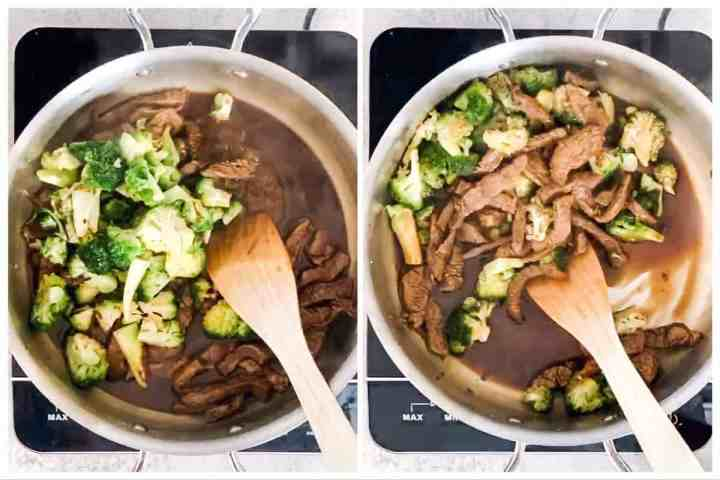 photo collage to show how to finish a beef and broccoli stir fry