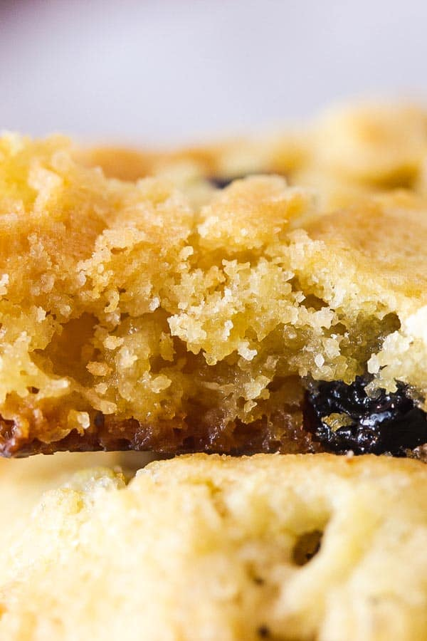 close up crop of the fudgy inside of a white choc cranberry cookie