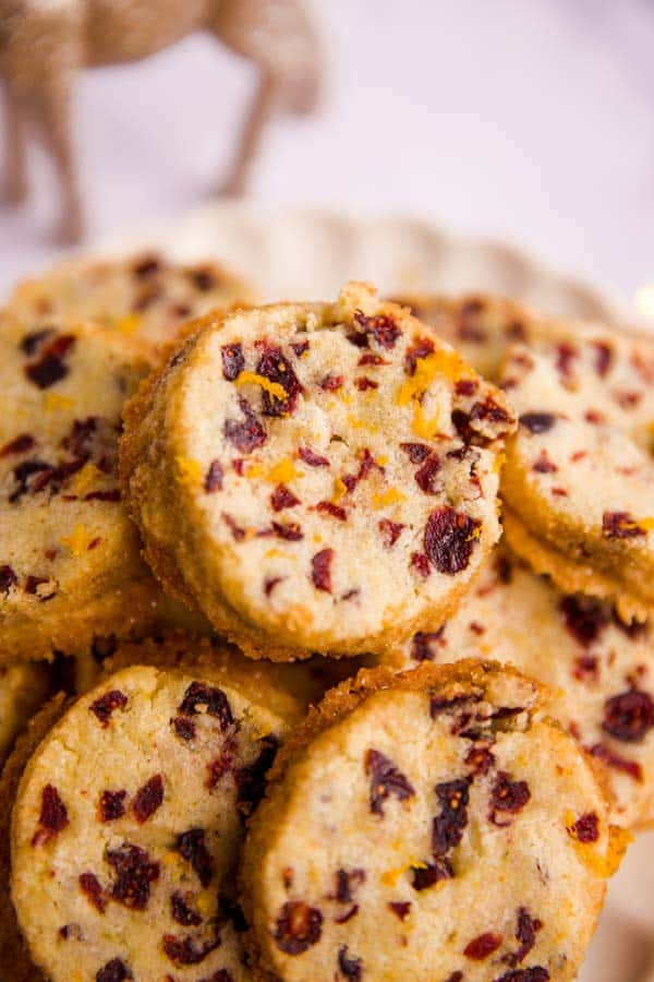 close up photo of a cranberry shortbread cookie