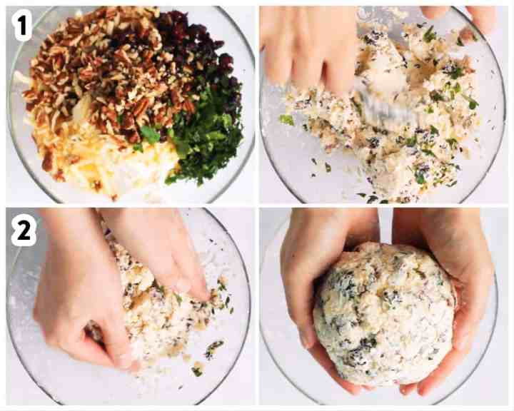 photo collage to show how to make mixture for cheeseball